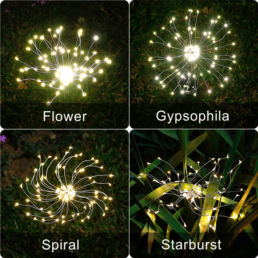 2X Solar Powered Firework Starburst LED Stake Light Garden Wedding Party Outdoor