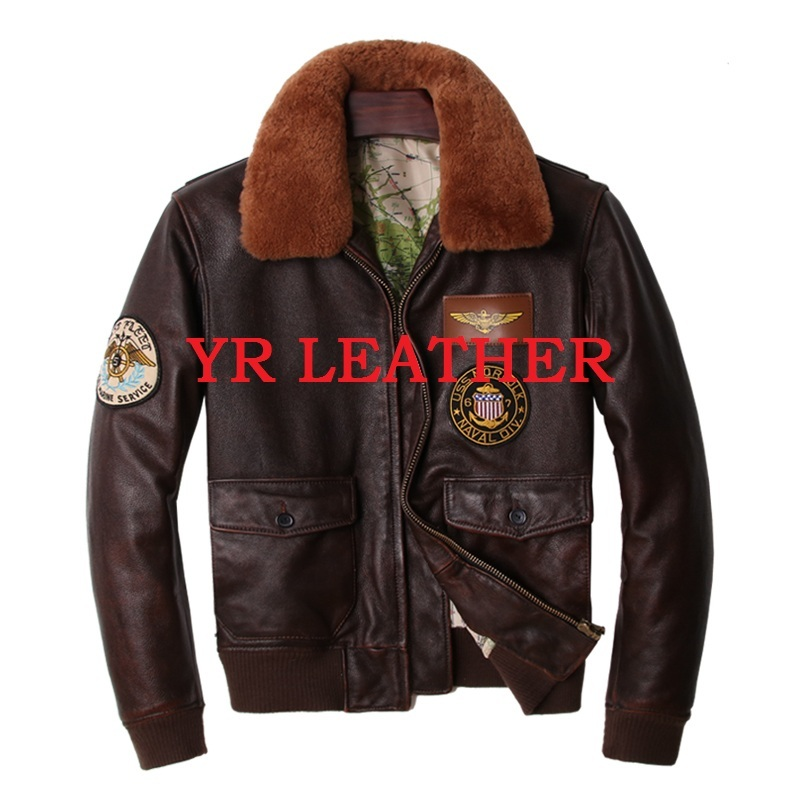 Free Shipping.Wholesales.mens Plus Size Genuine Leather Jacket,classic A2 Style Cowhide Coat.flight Bomber Leather Jackets