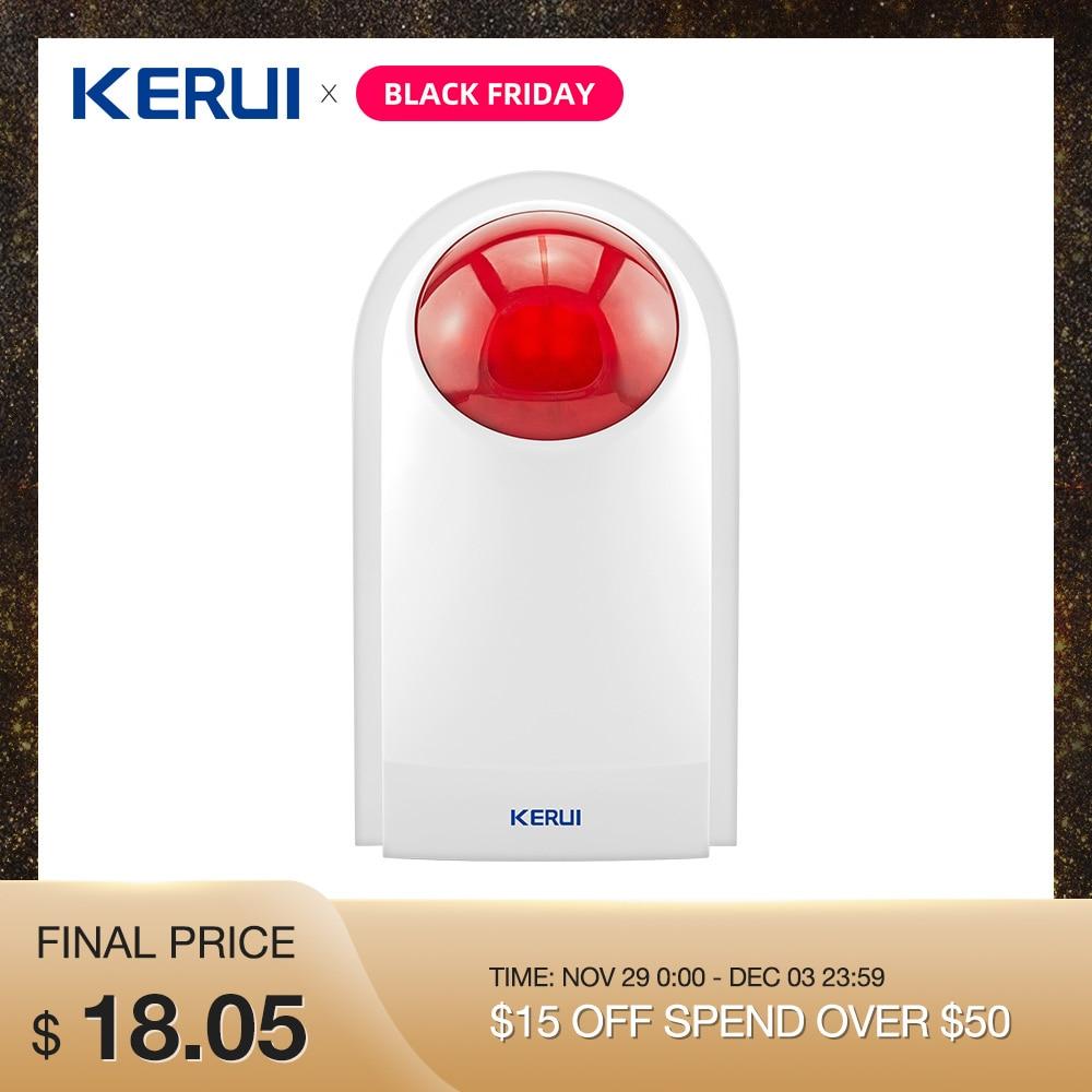 Kerui Wireless External Outdoor Waterproof Flash Siren Sound Strobe Alarm Wifi GSM PSTN Home Security System