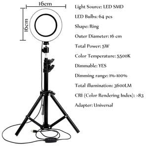 Image 4 - Mờ Đèn LED Chụp Ảnh Phòng Thu Chuông Camera Ánh Sáng Điện Thoại Video Hình Khuyên Đèn Chân Máy Chụp Hình Selfie Vòng Ánh Sáng Cho Canon Nikon sony