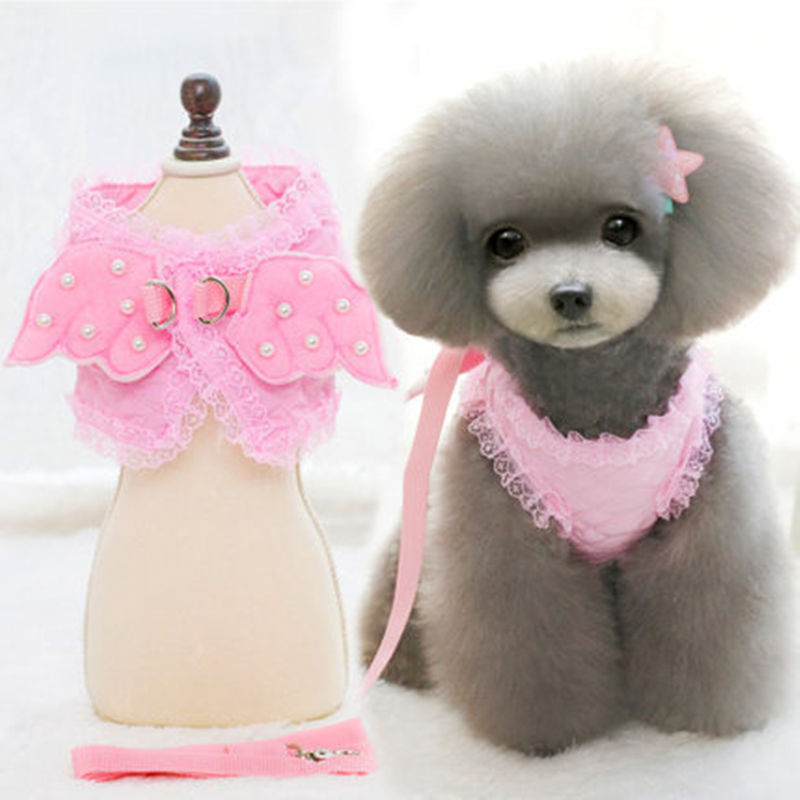 Pet's Chest-back Hand Holding Rope New Style Cute Pearl Little Angel Chest And Back With Dog Breast Collar Pink White