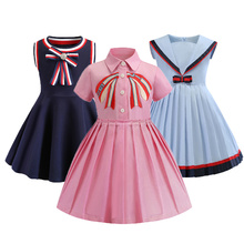 Pink Girls Dress Costume 2019 Spring and Summer Embroidered Lapel Short Sleeve Cotton Pleated  Princess