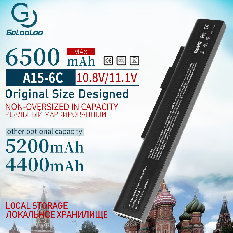 Golooloo 6 cells A32-a15 Laptop Battery For <font><b>MSI</b></font> A42-A15 CR640DX A6400 CR640MX CR640X <font><b>CX640DX</b></font> CX640 CX6 CR640 A41-A15 A42-H36 image