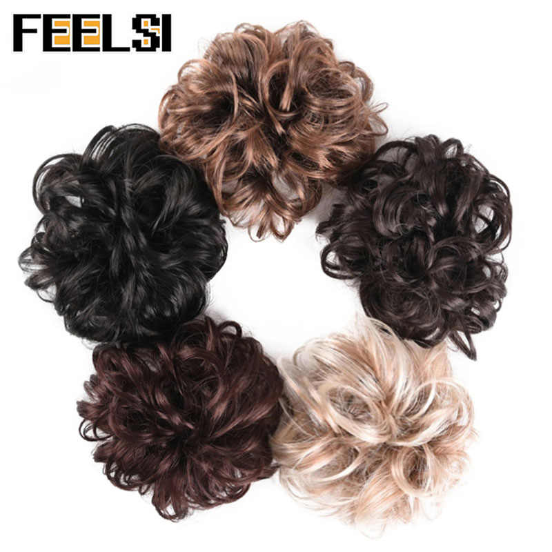 FEELSI sintético Flexible moño para el cabello rizado Scrunchy Chignon elástico desordenado ondulado Scrunchies Wrap para extensiones de cola de caballo para mujeres