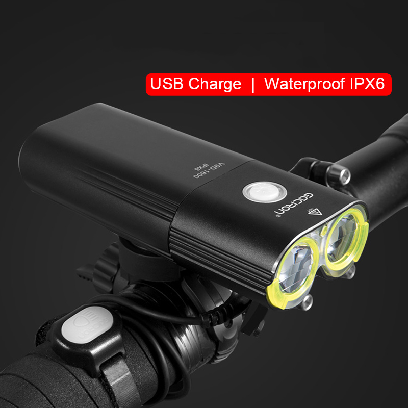 GACIRON 1600Lumen Cycling Flashlight LED Bike Front Headlight Rechargeable USB