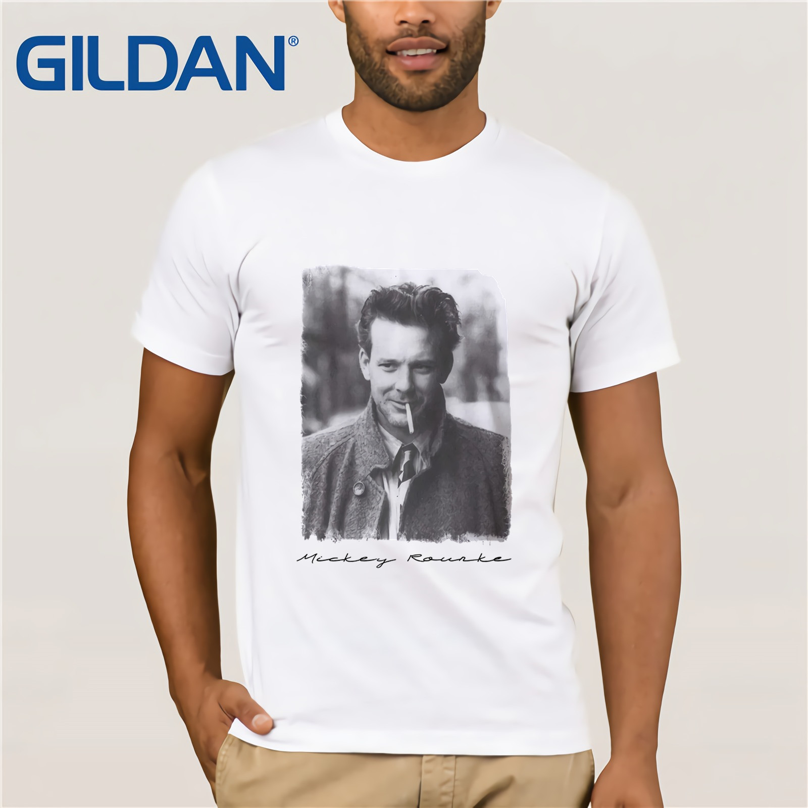 T-shirt Mickey Rourke, t-shirt Blanc pour Hommes, t-shirt Blanc pour Hommes, t-shirt Cadeau