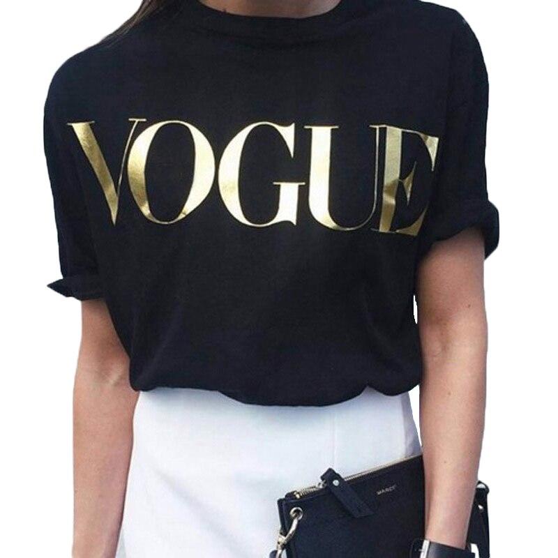 Vogue T-shirts Women Short Sleeve O-Neck Korean Style Clothes Women Loose Black Top Tshirt Fashion Casual Tops T Shirt For Women