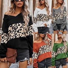 Женский свитер 2020 Повседневный с длинным рукавом Леопардовый