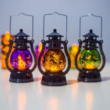 1PC Retro Halloween LED Lantern Hanging Hand-held Decorative Lamp Battery Operated for Indoor Festive Home Decoration