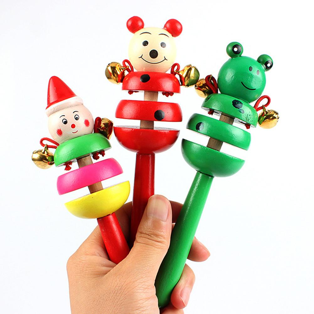 Wooden Cartoon Rabbit Frog Animal Musical Rattle Handheld Bell Cry To Stop Kids Educational Toys