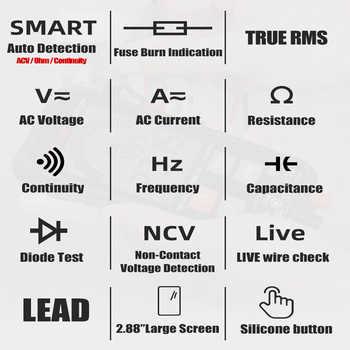 HABOTEST Digital Multimeter Esr Meter Auto Range Tester Multimeter Electrical Meter Transistor Capacitor Tester Smart HT112B