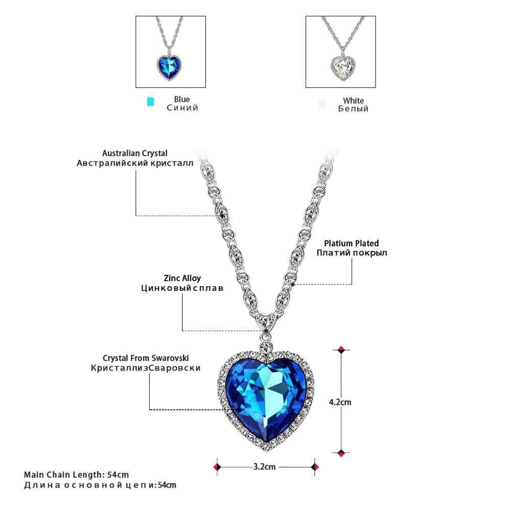 Neoglory Trái Tim Màu Xanh Đại Dương Vòng Cổ Titan Cho Tình Yêu Dành Cho Valentine Quà Tặng Tôn Tạo Với Tinh Thể Từ Swarovski