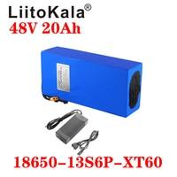 Batteria al litio LiitoKala 18650 48V 20ah 13S6P batteria per bicicletta elettrica 48V 20AH 1000W integrata con spina 20A BMS XT60