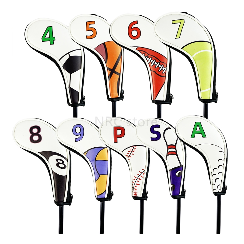 NRC Golf IronHeadcovers 9pcs (4,5,6,7,8,9,P,S,A) Ball Golf Iron Club Head Covers Handed Zipper Closure Customizable