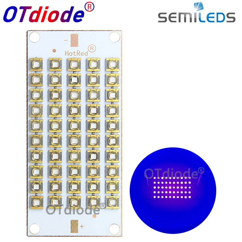 50W100W150W300W Semileds UV Lamp 395nm 405nm 420nm <font><b>430nm</b></font> Purple LED Copper PCB for 3D Printer Flatbed 55*25mm glue curing light image