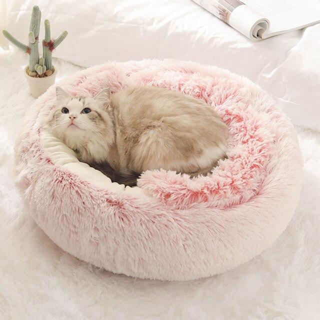 Pet Dog Cat Round Plush Bed Cat Self Warming Cat Nest House Soft Long Plush Bed Pet Comfort Sleeping Cushion Basket Soft Kennel 3