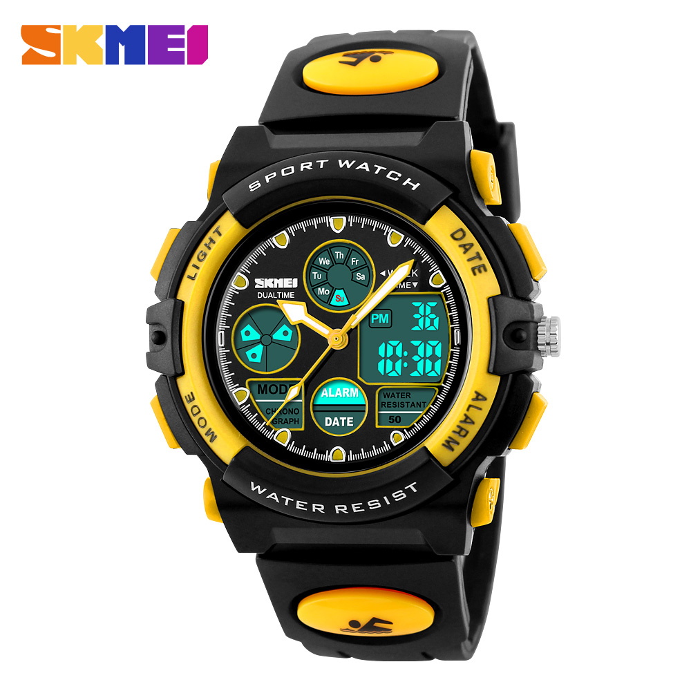 <font><b>SKMEI</b></font> Sports Watches Children LED dIgital 50M Waterproof Dual Display Wristwatches Watch Alarm For Boys Girls Kids <font><b>1163</b></font> image