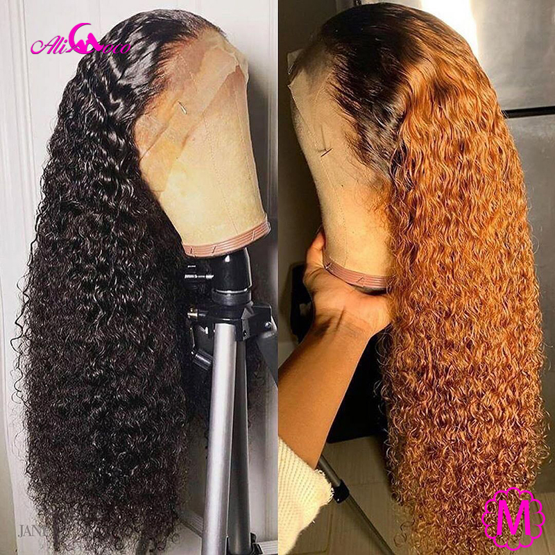 Ali Coco 13x4 Curly Human Hair Lace Front Wigs 150% 1B/350 /Orange Ginger Ombre Color Brazilian Remy Curl Wigs Pre Plucked