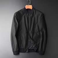 OLN Male Jacket Luxury Handwoven Tipping Design Metal Zipper Mens Jackets And Coats Fashion Baseball Collar Black Jacket Men