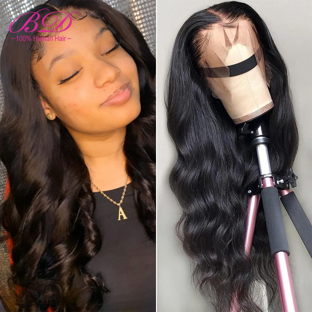 BD Hair Body Wave 360 Lace Frontal Wigs 150% Density Long Indian Remy Hair Glueless Human Hair Wig Pre Plucked With Baby Hair