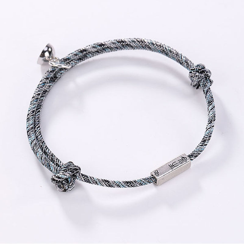 Paired Magnetic Couple Bracelets Adjustable Braided Thread Braslet Love Forever Bracelet Woven Lanyard Valentines Gift Jewelry