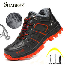 SUADEEX Men Safety Shoes Anti-smashing Work Boots Construction Waterproof Winter Warm Indestructible