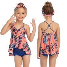 2020 dziewczęcy kwiecisty strój kąpielowy dwuczęściowy strój kąpielowy dla dzieci bez rękawów letni strój kąpielowy dla dzieci strój kąpielowy dla dzieci strój kąpielowy dla dzieci tanie tanio FaBo Poliester spandex Dziewczyny Pływać women two piece swimwear ruff Pasuje prawda na wymiar weź swój normalny rozmiar