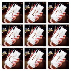 Letter Monogram A B C D white marble Soft TPU Phone Case For iphone 5S 5 SE 6 6s Plus 7 7Plus 8 8Plus X XS Max XR(China)