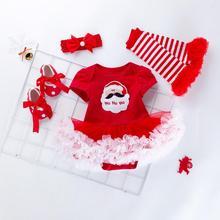 цена на First Christmas Santa Claus Romper Outfits Sets 4PCS Toddler Baby Girls Santa Printing Romper+Skirt+Shoes+Headbands Outfits Set