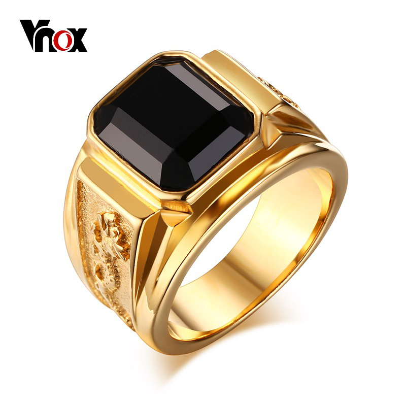 Vnox Dragon Ring Men Wedding Party Jewelry Stainless Steel Gold Color