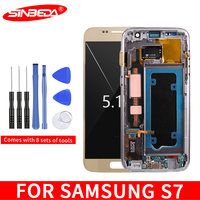 """5.1""""Sinbeda Super AMOLED For SAMSUNG GALAXY S7 G930A G930F SM G930F LCD Display Touch Screen Digitizer with Frame For S7 Screen