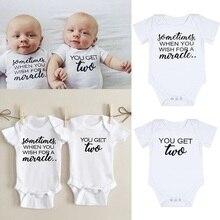 When You Wish You Get Two Print Newborn Baby Bodysuit Casual Short Sleeve Body B