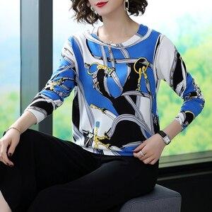 Image 3 - YISU سترة النساء 2019 الخريف جديد بلوفرات س الرقبة محبوك البلوز سلسلة الموضة المطبوعة البلوز الإناث بلوزات عالية الجودة