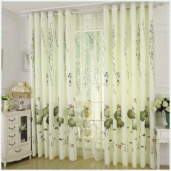 Cortina personalizada Pastoral dormitorio Sala Simple impresión moderna cortina al suelo tela...