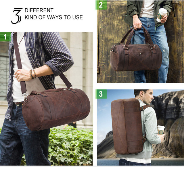 Genuine Leather Men Travel Bags Organizer Luggage Duffle Weekend Bag Crazy Horse Leather Travelling Bag More Function Packing 5