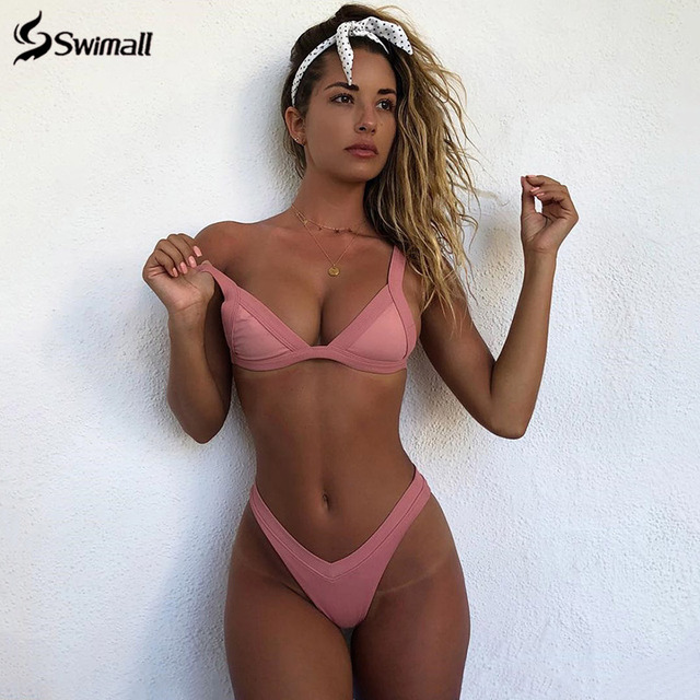 Bikini 2020 Solid Swimsuit Women Swimwear Push Up Bikini Set Patchwork Biquini Brazilian Summer Beach Bathing Suit Swim Wear 1