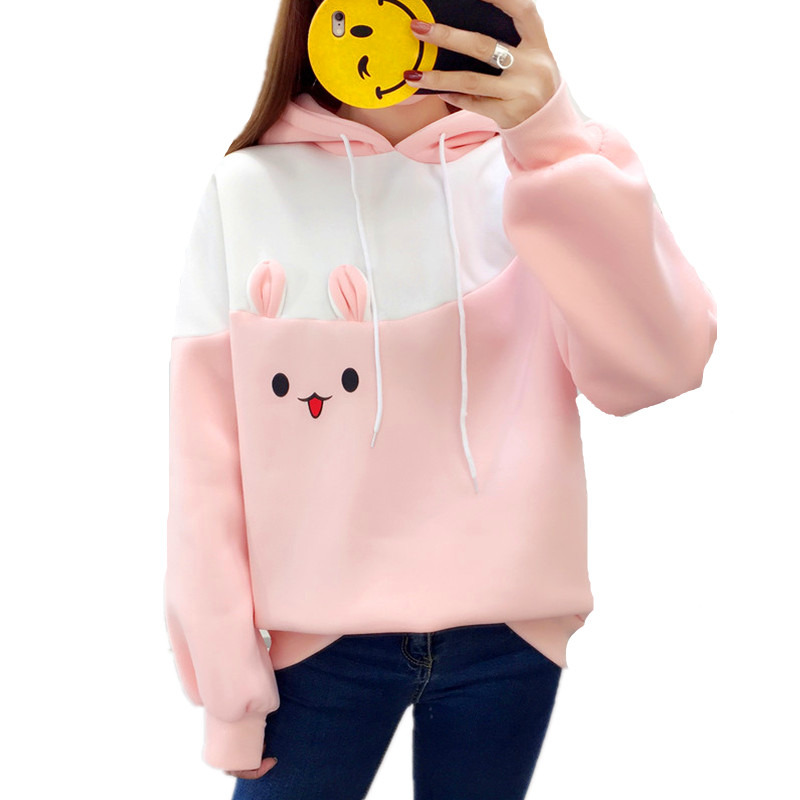 2019 Autumn Kawaii Sweet Rabbit Ears Hoodies Women Plus Velvet Long Sleeve Pullover Moletom Carrot Printed Thick Warm Sweatshirt