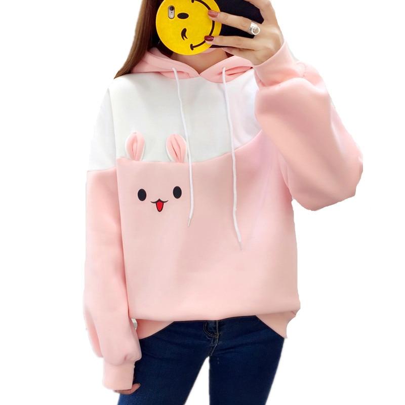 2019 Autumn Kawaii Sweet Rabbit Ears Hoodies Women Plus Velvet Long Sleeve Pullover Moletom Carrot Printed Thick Warm Sweatshirt