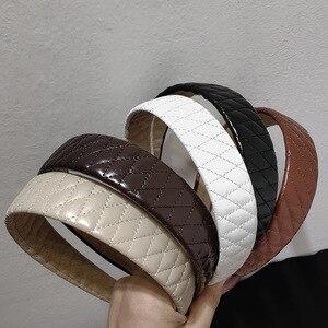 Кожаная повязка для волос в Корейском стиле, универсальная элегантная широкая повязка для волос, винтажная французская повязка на голову