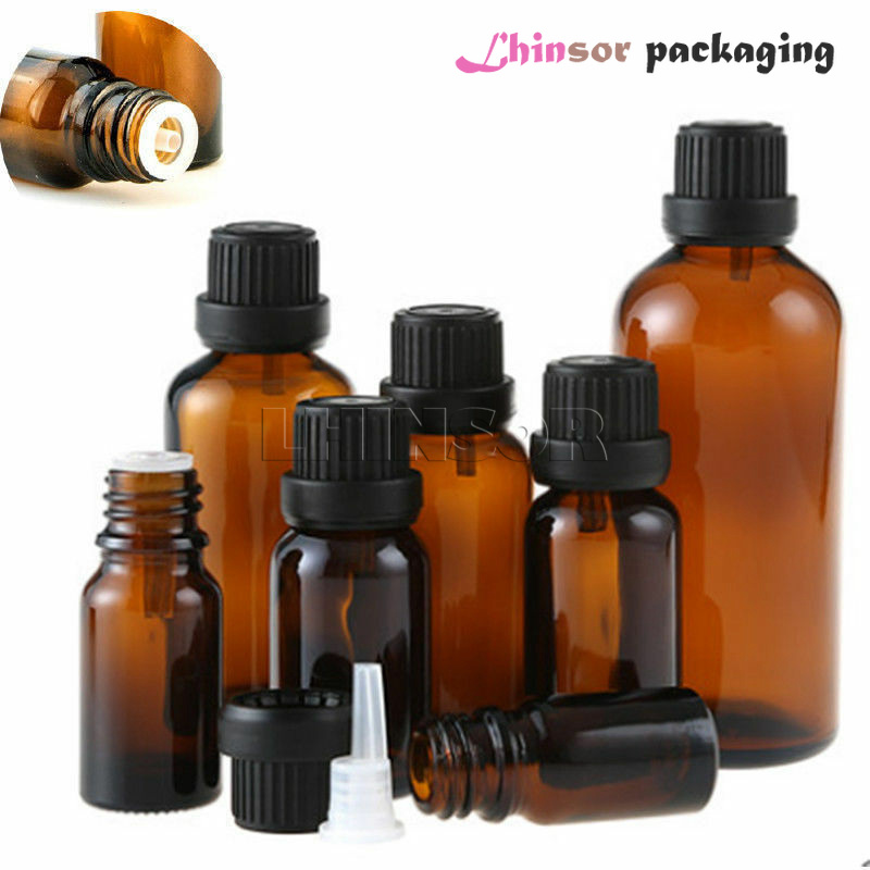 20pcs/lot 5ml 10ml 15ml 20ml Empty Amber Brown Glass Essential Oil Doterra  Dropper Bottles Liquid Aromatherapy Vials Containers