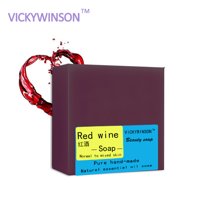 VICKYWINSON 100g Soap Natural Red Wine Handmade Soap Essential Oil Soaps Body  Flower Organic Soap Oil And Acne Skin Essence