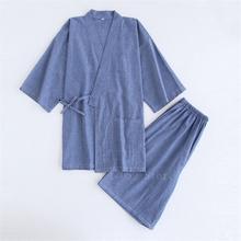 Japońskie Kimono bawełniana piżama mężczyźni samuraj kostium szlafrok Haori Yukata Jinbei zestaw bielizna nocna z krótkim rękawem kobieta japonia ubrania tanie tanio WOMEN COTTON Poliester Trzy czwarte Kimono Pajamas Top Skirts