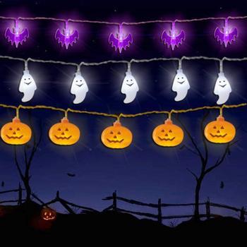 10/20 LED Halloween Kürbis Spinne Bat Schädel String Licht Lampe Hause Garten Party Außen Halloween Dekoration Laterne Licht