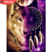 HUACAN 5D DIY Diamond Painting Full Square/Round Wolf Diamond Mosaic Animal Sale Embroidery Home Decor Gift
