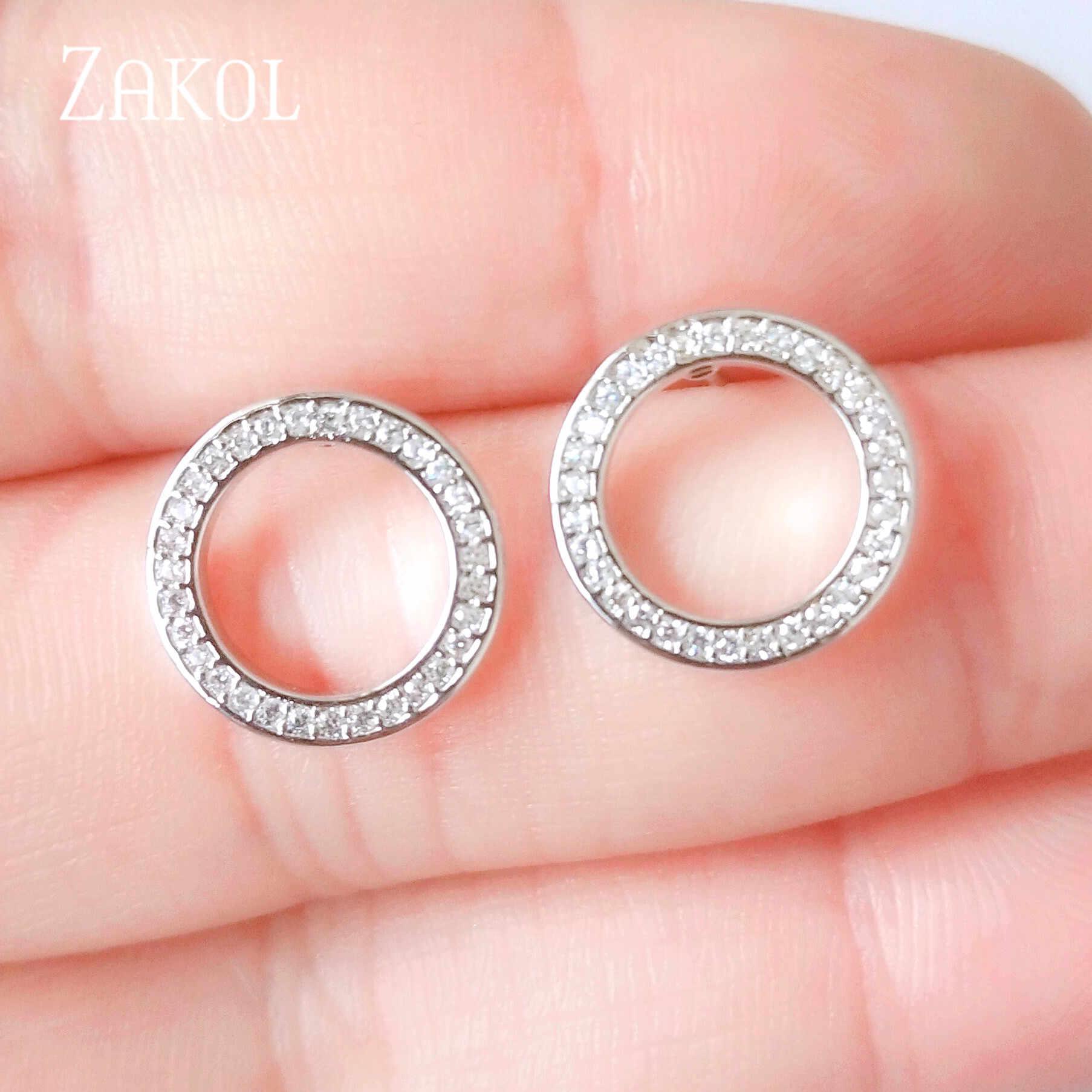 ZAKOL Casual wysokiej jakości cyrkonia okrągłe koło stadniny kolczyki dla kobiet wesele kolacja Party biżuteria FSEP2285