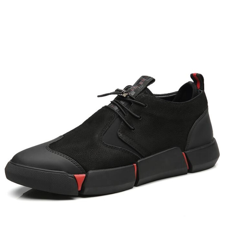 All Black Classic Business Men's Leather Casual Shoes Fashion Sneakers Flats