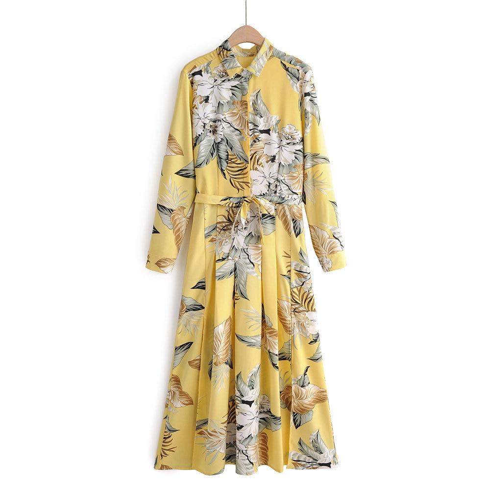 Moda feminina vestidos 2020 primavera e outono novo fold-down colarinho manga longa botão faixas flor impresso vestido plissado