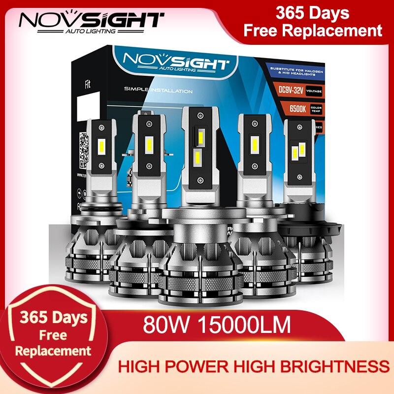 NOVSIGHT автомобильный головной светильник, светодиодные лампы H7 H4 H1 H3 H11 H13 9005 9006 9007, мини-декодер, автомобильный светильник 80 Вт 15000LM 6500K