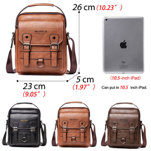 "Image 2 - Business Men Shoulder Bag PU Leather Male Messenger Bags Retro Men Crossbody Bag for 10.5"" Ipad Travel Zipper Male Handbags"