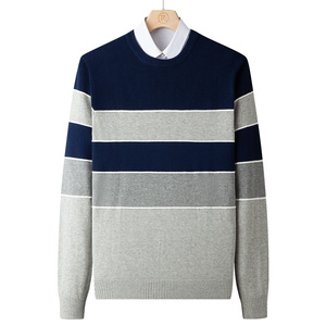 Varsanol Men Knitted Sweater Clothing Winter O-neck Pullovers Casual Cotton Striped Slim Fit Knittwear Mens Oversized Sweater
